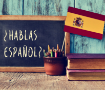 A chalkboard with the question hablas espanol?
